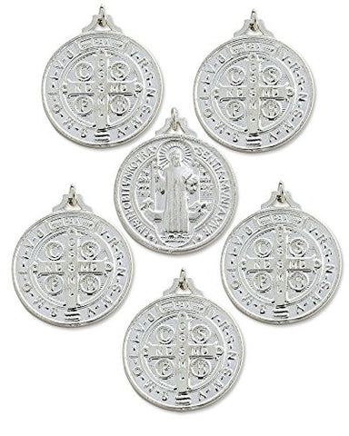 Silver Tone St. Benedict Medal with Stamped Cross on the Back, Medium, Lot of 6