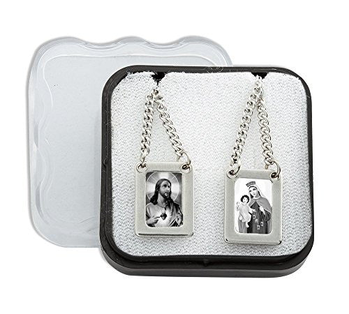 Pack of 2 pcs. Stainless Steel Large Rectangular Scapular with Black & White Images of Jesus and Mount Carmel - 12.5 Inch