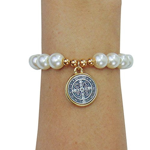 "Saint St Benedict Bracelet with 1"" Gold Tone Medal and Glass Simulated Pearl Beads"