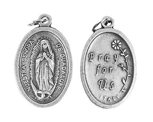Lot of 6 pcs. Our Lady Guadalupe Silver Tone Small Medal Pendant
