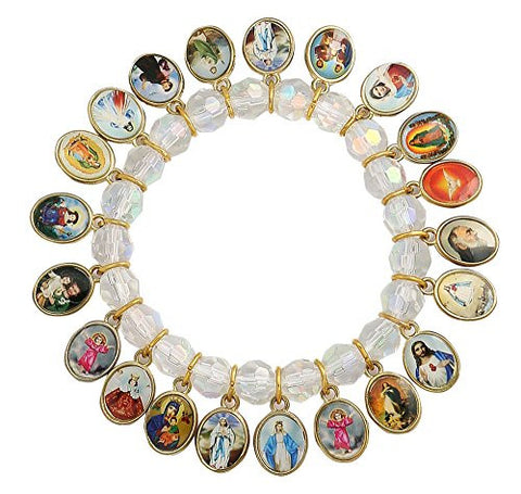 Catholic Religious Crystal Stretch Bracelet with 21 Medals of Mary, Jesus and Saints.