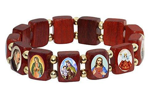 Wooden Small Square Catholic Saints Bracelet