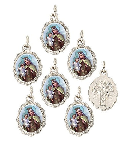 Lot of 6 pcs - Silver Tone Sacred Heart of Our Lady of Mount Carmel Medal Pendant - Small
