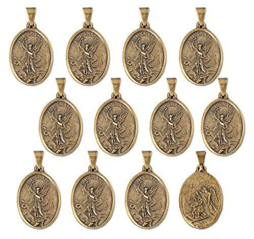"Lot of 12 - Gold Tone Saint St. Michael Small Medal Pendant - 0.31""W x 0.75""D"