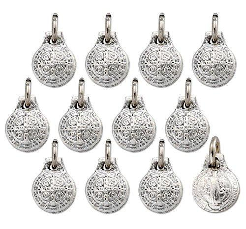 Lot of 12 - Silver Tone St Benedict Mini Round Stamped Medal Pendant - Made in Italy