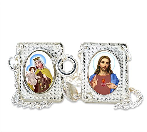 "Silver Plated Scapular Our Lady of Mount Carmel with Sacred Heart of Jesus Christ Necklace 14.5"". Pack of 3 units"