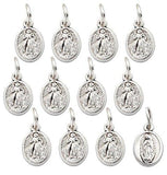 "Pack of 12 pcs. Divine Mercy with Our Lady of Guadalupe Silver Tone Medal Pendant Charm, 0.31""W x 0.55""L"