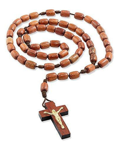 Jatoba Wood Rosary Necklace with Brown Cord