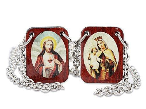 Catholic Wear Cherry Wood Color Images of Jesus and Mt. Carmel Scapular with Stainless Steel Necklace