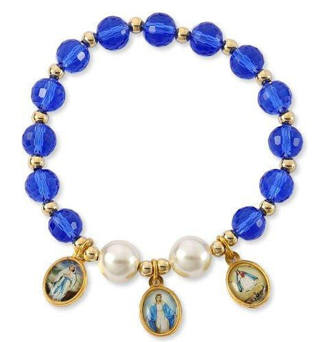Blue Crystal Glass Bead Bracelet with Mary Images, Assembled in the U.S.A, 2.5 Inch. Pack of 3 units