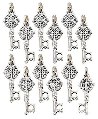 Lot of 6 pcs - Silver Tone Saint St. Benedict Key of Heaven Medal Pendant Charm