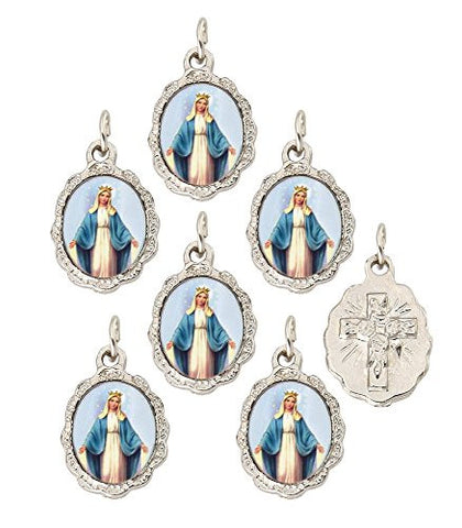 Lot of 6 pcs - Our Lady of Grace Silver Tone Small Medal Pendant