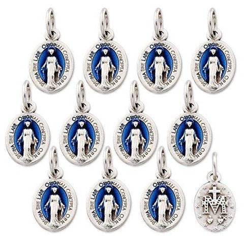 Lot of 12 - Blue Silver Tone Our Lady of Grace Mini Miraculous Medal Pendant - Made in Italy