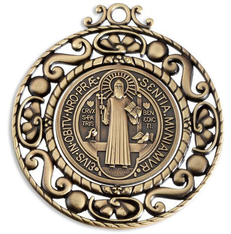 Saint Benedict Wall Mounted Revolving Medal Ornament in Bronze
