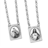 Stainless Steel Catholic Scapular with Medals of Sacred Heart of Jesus and Our Lady of Mt. Carmel - Black and White Squared Pendant