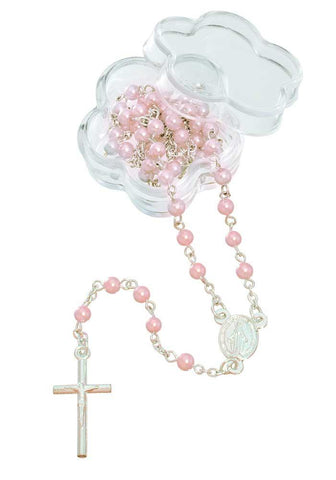 12 pc Mini Pink Beaded Rosary Favors with Acrylic Flower Shape Box