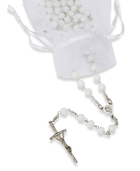 Mary Medal Rosary with 6mm White Glass Beads 19'' inch - Assorted Colors