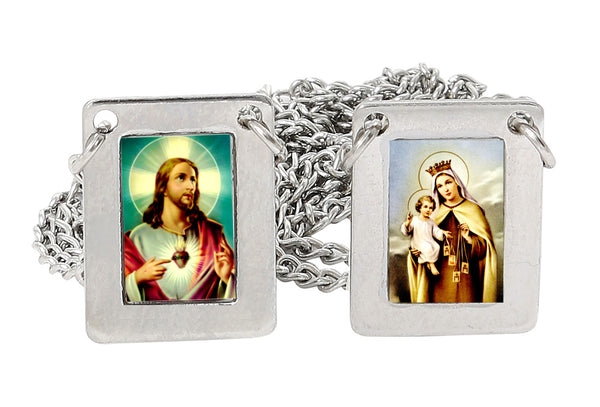 Stainless Steel Large Rectangular Scapular with Icons of Our Lady of Mount Carmel and Jesus,12.5 Inch. Pack of 3 units