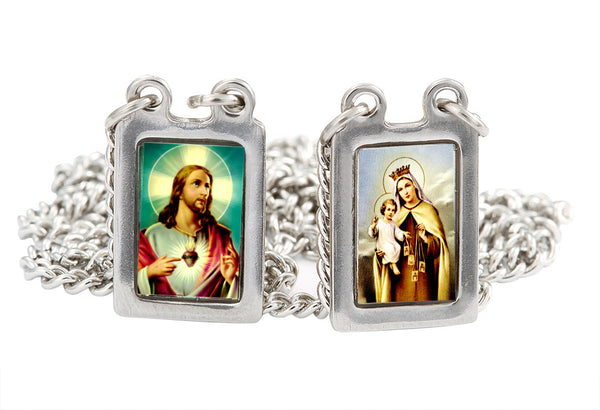 Stainless Steel Medium Rectandular Scapular with Color  Images of Jesus and Mount Carmel - 12.5 Inch. Pack of 3 units