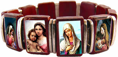 Cherry Wood Stretch Bracelet with Assorted Color Images of Blessed Mary