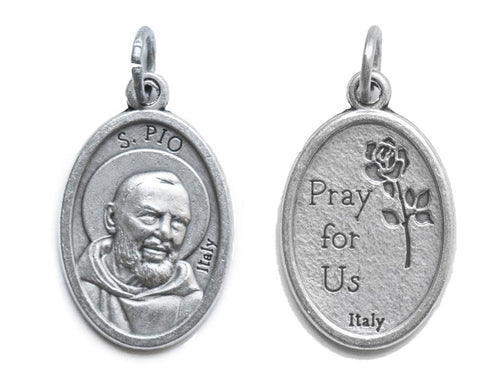Lot of 6 pcs - Padre Pio Silver Tone Small Medal Pendant