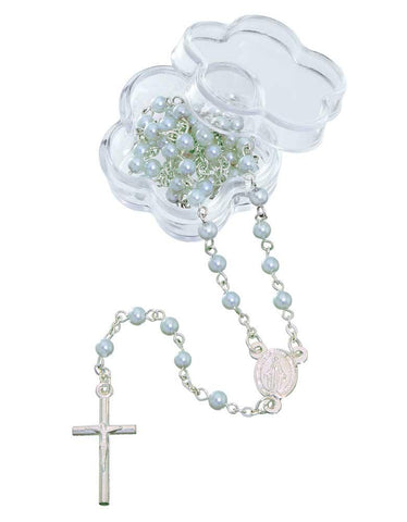 12 pc Mini Blue Simulated Pearl Beaded Rosary Favors with Metal Crucifix