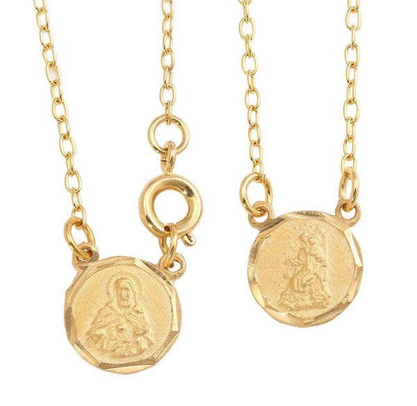Gold Plated Mini Round Scapular with Engraved Images of Mount Carmel and Jesus 10 Inch. Pack of 3 units