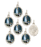 "Lot of 12 - Our Lady of Fatima Silver Tone Small Medal Pendant - 0.50"" W x 0.75"" L"