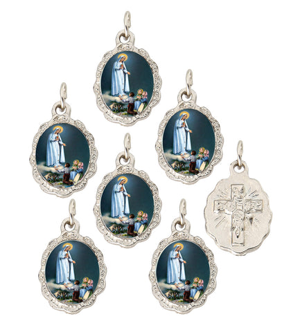 Lot of 6 pcs - Our Lady of Fatima Silver Tone Small Medal Pendant