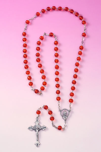 Our Lady of Grace White Glass Simulated Pearl and Red Glass Beads Rosary Necklace, 17 Inch - Pack of 3 units