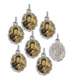 Lot of 6 - Perpetual Help Silver Tone Small Medal Pendant