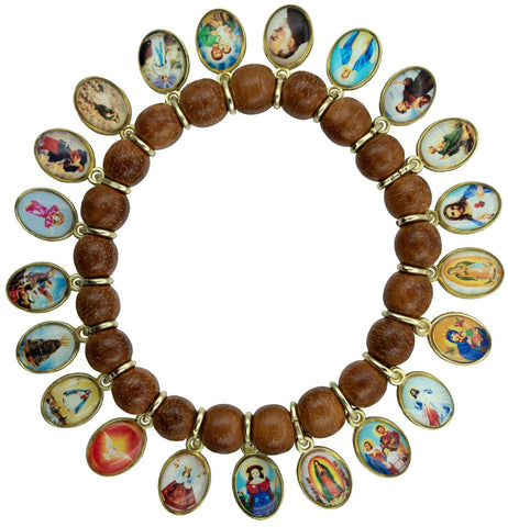 Catholic Religious Wood Stretch Bracelet with 21 Medals of Mary, Jesus and Saints. Pack of 3 units