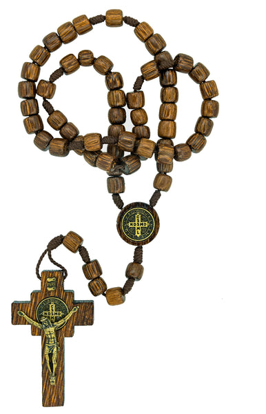 Mens Saint Benedict Wood Rosary