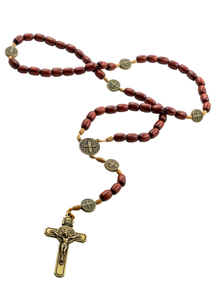 Mens Cherry Wood Rosary with 7 Saint Benedict Metal Medallions and Crucifix