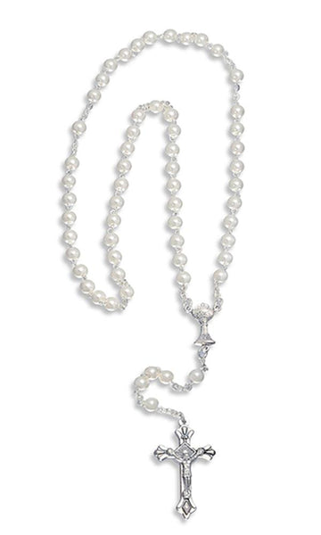 First Holy Communion Rosary, Glass Simulated Pearl Beads and Crucifix, 20 Inch.
