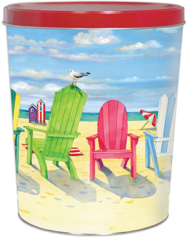Beach Chairs Popcorn Tin - 3.5 Gallon