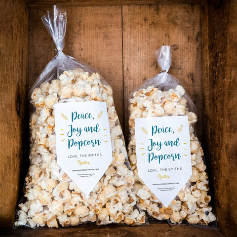 3. Peace, Joy & Popcorn Personalized Label