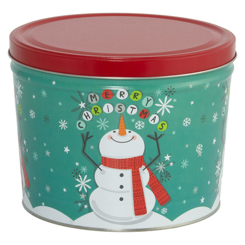Merry Christmas Snowman Popcorn Tin - 2 Gallon
