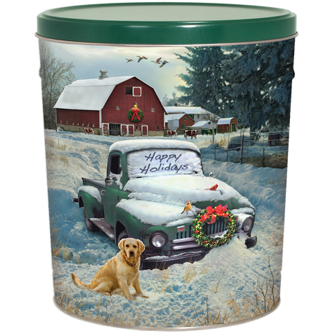 Countryside Christmas Popcorn Tin - 3.5 Gallon