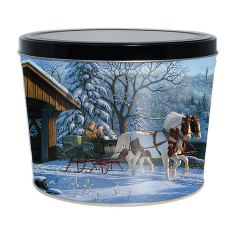 Winter Sleigh Ride Popcorn Tin - 2 Gallon