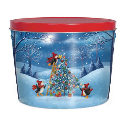 Penguin Tree Trimming Popcorn Tin - 2 Gallon