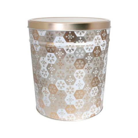 Shining Snowflake Popcorn Tin - 3.5 Gallon