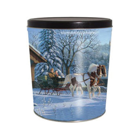 Winter Sleigh Ride Popcorn Tin - 3.5 Gallon