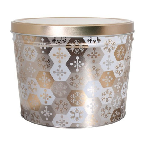 Shining Snowflake Popcorn Tin - 2 Gallon