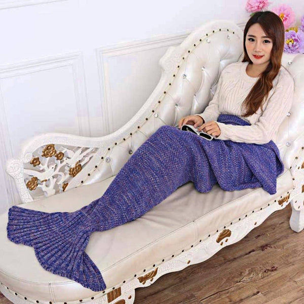 Knitted Handmade Mermaid Tail Blanket Super Soft and Portable