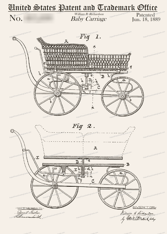 CARD-006: Baby Carriage - Patent Press Greeting Cards