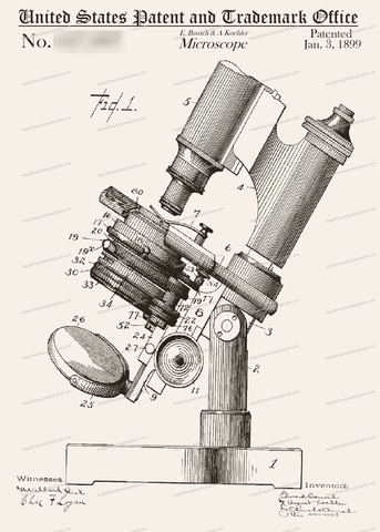 CARD-015: Bausch Microscope - Patent Press Greeting Cards