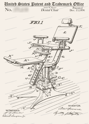 CARD-037: Dental Chair - Patent Press Greeting Cards