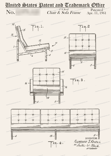 CARD-043: Knoll Sofa/Chair - Patent Press Greeting Cards