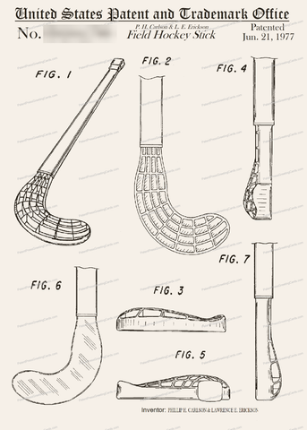 CARD-050: Field Hockey Stick - Patent Press Greeting Cards